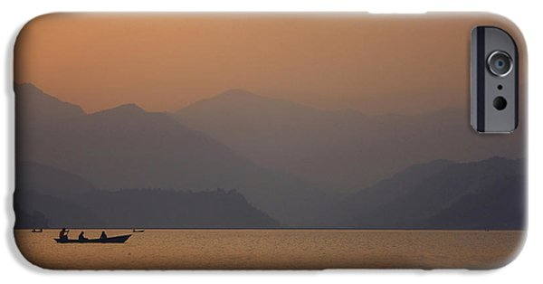 Sunset Sculptures iPhone Cases - Sunset - Phewa Lake in Nepal iPhone Case by Anastasiia Kononenko