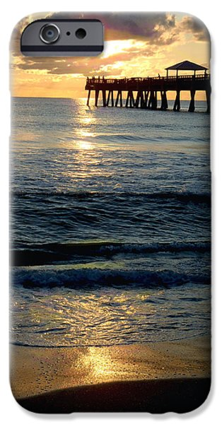 Kite Surfing iPhone Cases - Sunset Pier iPhone Case by Carey Chen