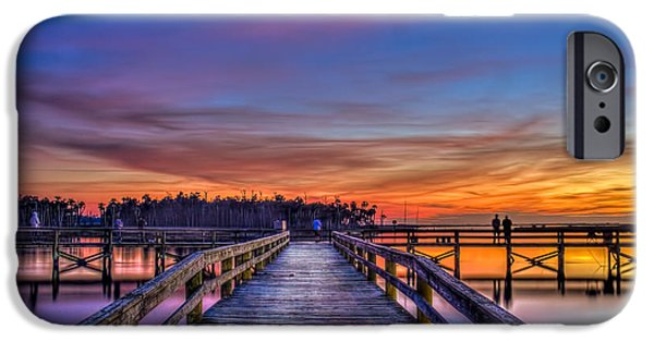 Gulf Shores iPhone Cases - Sunset Pier Fishing iPhone Case by Marvin Spates