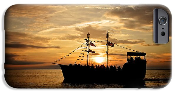 Pirate Ship iPhone Cases - Sunset Pirate Cruise iPhone Case by Mark Miller
