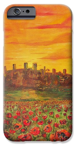 Tuscan Sunset Paintings iPhone Cases - Sunset Poppies iPhone Case by Jodi Monahan
