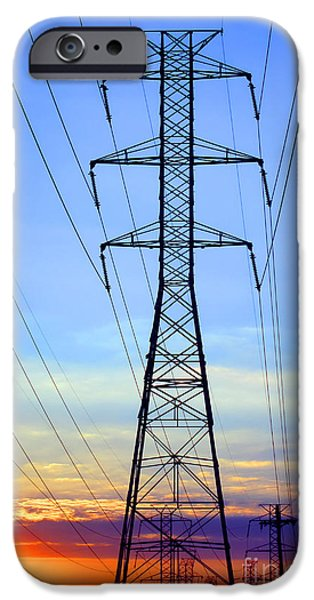 Electric iPhone Cases - Sunset Power Lines iPhone Case by Olivier Le Queinec