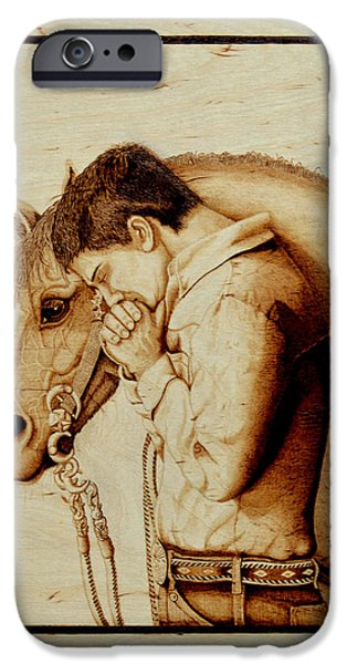 Gear Pyrography iPhone Cases - Sunset Prayer iPhone Case by Laurisa Borlovan
