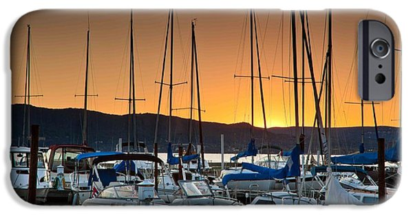 Sailboat Pyrography iPhone Cases - Sunset iPhone Case by R Steven Diaz