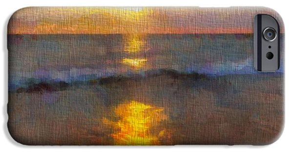 Chicago Paintings iPhone Cases - Sunset Reflection At Sleeping Bear Dunes iPhone Case by Dan Sproul