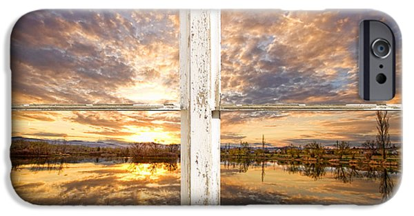 Corporate Art Photographs iPhone Cases - Sunset Reflections Golden Ponds 2 White Farm House Rustic Window iPhone Case by James BO  Insogna
