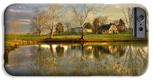 Constitution iPhone Cases - Sunset Reflections Uncle Remus Author Joel Chandler Harris Home Pond iPhone Case by Reid Callaway