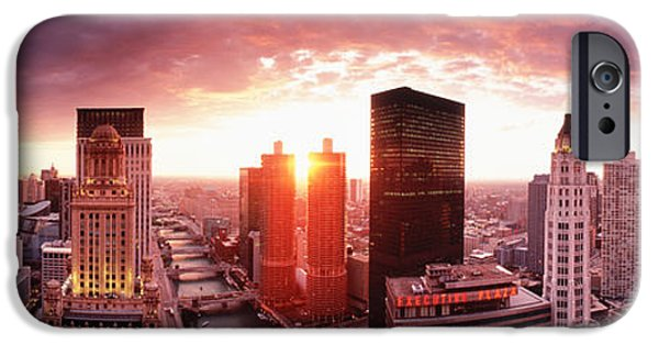 Il iPhone Cases - Sunset River View Chicago Il iPhone Case by Panoramic Images