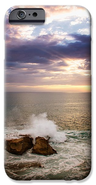 Heisler Park iPhone Cases - Sunset Rocks iPhone Case by Vicki Jauron