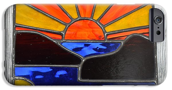 Sunset Glass Art iPhone Cases - Sunset iPhone Case by Rosalind Duffy