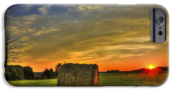 Hayfield iPhone Cases - Sunset Round Bale Lick Skillet Road iPhone Case by Reid Callaway