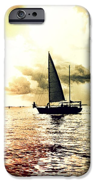 Sailboat Ocean iPhone Cases - Sunset Sail - Light Leaks II iPhone Case by Chris Andruskiewicz