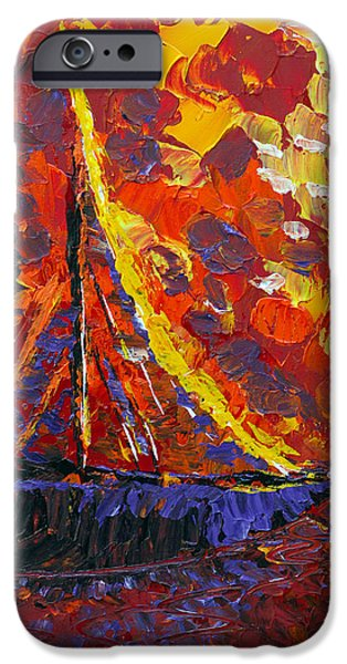 Abstract Expressionist iPhone Cases - Sunset Sail iPhone Case by Donna Blackhall