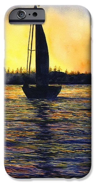 Ocean Sunset iPhone Cases - Sunset Sail iPhone Case by Karen Wright