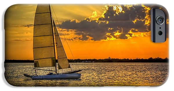 Ocean Sunset iPhone Cases - Sunset Sail iPhone Case by Marvin Spates