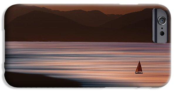 Sailboat Ocean iPhone Cases - Sunset Sailing iPhone Case by David Orias