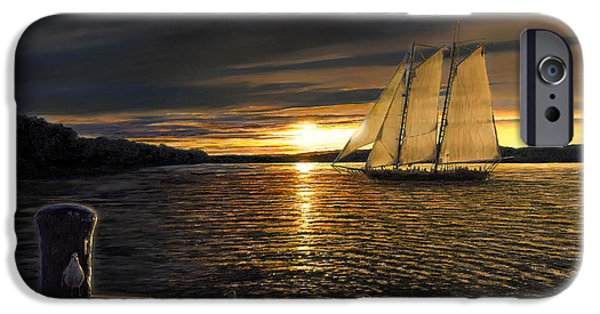 Water Vessels Paintings iPhone Cases - Sunset Sails iPhone Case by Doug Kreuger
