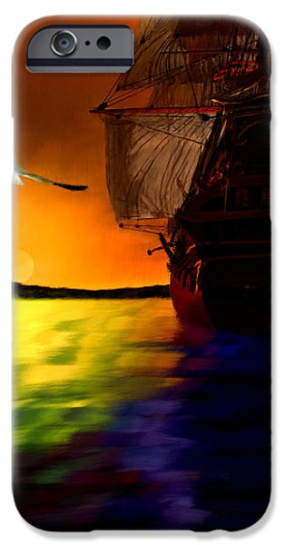 Carrier iPhone Cases - Sunset Sails iPhone Case by Lourry Legarde