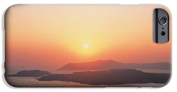 Seascape Photography iPhone Cases - Sunset Santorini Island Greece iPhone Case by Panoramic Images