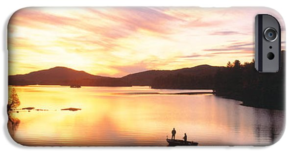 Franklin iPhone Cases - Sunset Saranac Lake Franklin Co iPhone Case by Panoramic Images