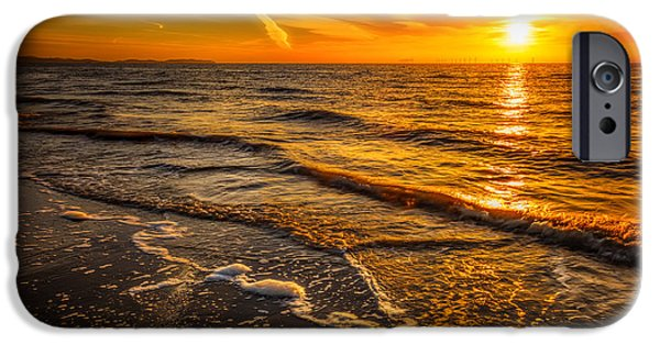 Turbines iPhone Cases - Sunset Seascape iPhone Case by Adrian Evans