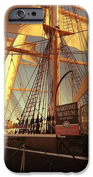 Pirate Ships iPhone Cases - Sunset Ship iPhone Case by Majula Warmoth