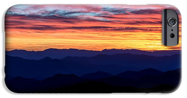 Hill iPhone Cases - Sunset Silhouette on the Blue Ridge Parkway iPhone Case by Andres Leon