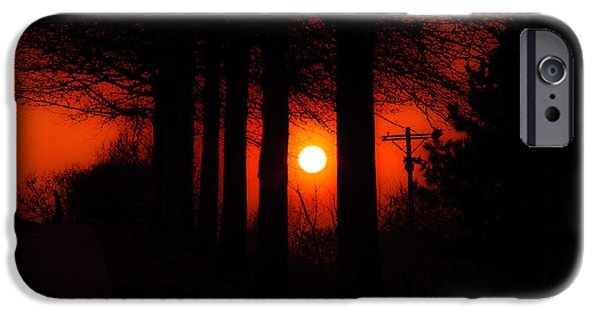 Sun Rays Mixed Media iPhone Cases - Sunset Silhouette Painterly iPhone Case by Andee Design