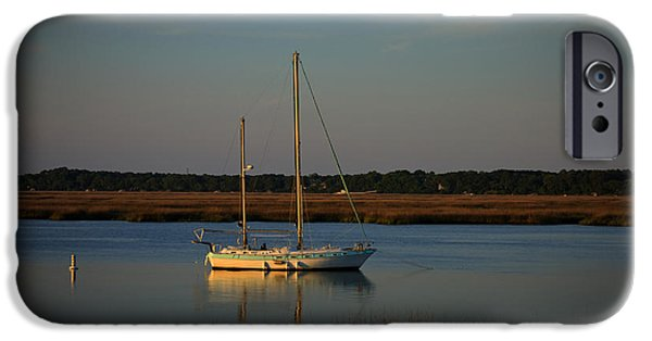 Sailboats In Harbor iPhone Cases - Sunset Sailboat at Beaufort SC iPhone Case by Reid Callaway