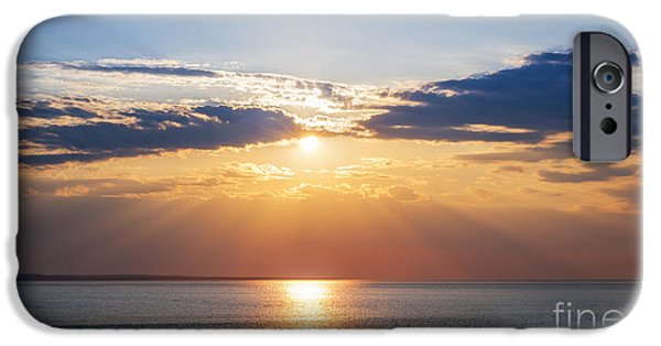 Prince Edward Island iPhone Cases - Sunset sky over ocean iPhone Case by Elena Elisseeva