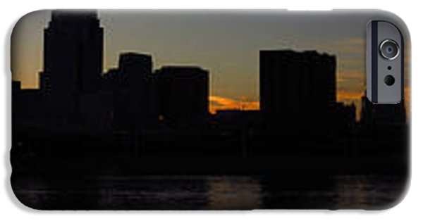 River View iPhone Cases - Sunset Skyline Cincinnati iPhone Case by Mary  King