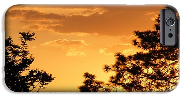 Abstract Digital Paintings iPhone Cases - SUNSET SONATA 2 H a iPhone Case by Gert J Rheeders