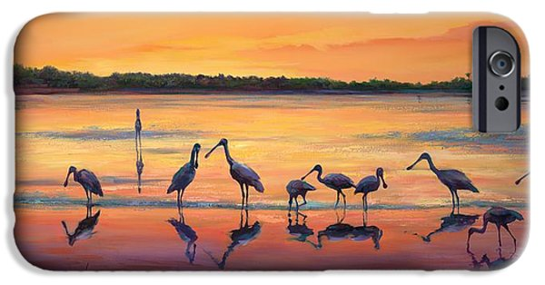 Wetlands iPhone Cases - Sunset Spoonbills iPhone Case by Laurie Hein