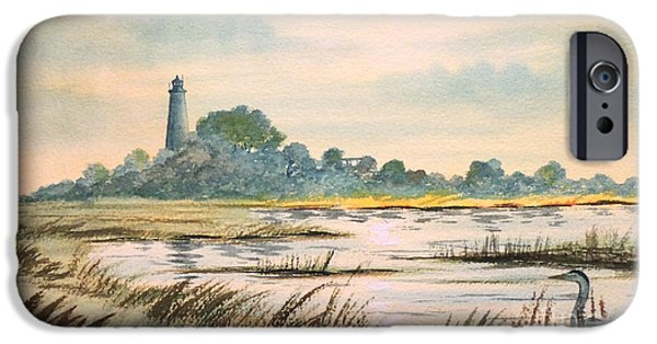 Beauty Mark Paintings iPhone Cases - Sunset - St Marks Lighthouse Florida iPhone Case by Bill Holkham