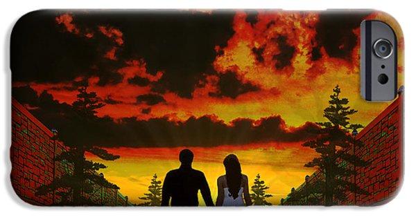 Walker Digital Art iPhone Cases - Sunset Stroll iPhone Case by Michael Rucker