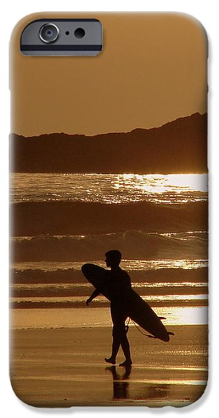 Monotone iPhone Cases - Sunset Surfer iPhone Case by Ramona Johnston