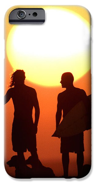 Beach Photographs iPhone Cases - Sunset Surfers iPhone Case by Sean Davey