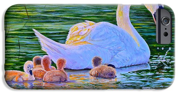 Young Paintings iPhone Cases - Sunset Swan Family iPhone Case by AnnaJo Vahle