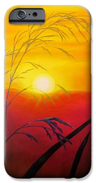 Sun Rays Paintings iPhone Cases - Sunset through the grass iPhone Case by Zina Stromberg
