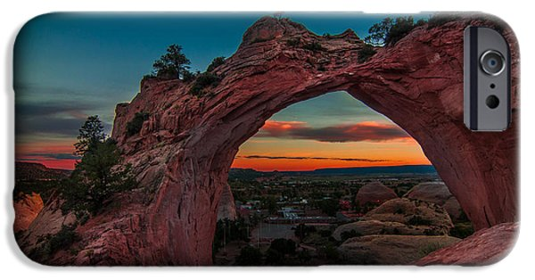 Desert Scape iPhone Cases - Sunset Through Window Rock iPhone Case by Erica Hanks