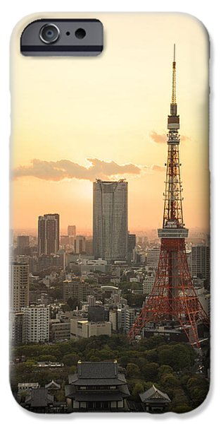Postkarte iPhone Cases - Sunset Tokyo Tower iPhone Case by For Ninety One Days