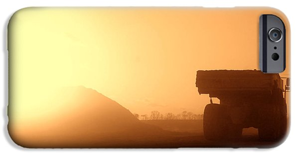 Machinery iPhone Cases - Sunset Truck iPhone Case by Olivier Le Queinec