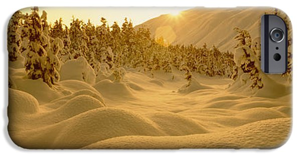 Snow Drifts Photographs iPhone Cases - Sunset, Turnagain Pass, Alaska, Usa iPhone Case by Panoramic Images