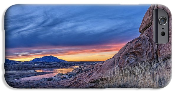 Prescott iPhone Cases - Sunset View from Granite Dells to Granite Mountain iPhone Case by Theresa Rose Ditson