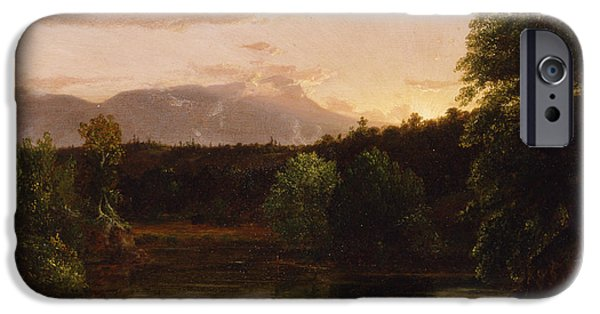 Reflecting Trees iPhone Cases - Sunset  View on Catskill Creek iPhone Case by Thomas Cole