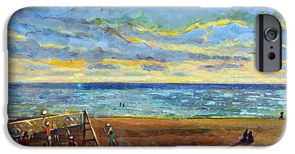Quaker Paintings iPhone Cases - Sunset Volleyball at Old Silver Beach iPhone Case by Rita Brown