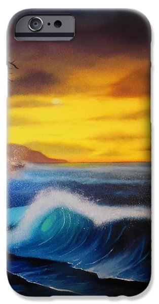 Bob Ross Paintings iPhone Cases - Sunset Wave iPhone Case by Charles Eagle