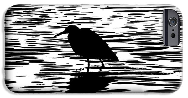 Snowy Night iPhone Cases - Sunset With A Wading Bird Silhouette iPhone Case by Ben and Raisa Gertsberg