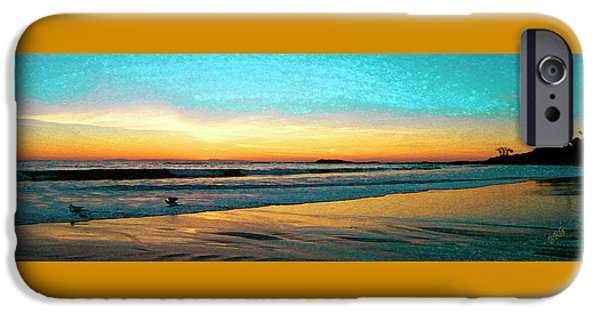 Sea Birds iPhone Cases - Sunset With Birds iPhone Case by Ben and Raisa Gertsberg