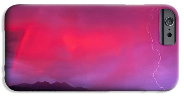 Drama iPhone Cases - Sunset With Lightning And Rainbow Four iPhone Case by Panoramic Images